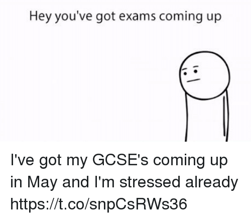 Got, May, and Hey: Hey you've got exams coming up I've got my GCSE's coming up in May and I'm stressed already https://t.co/snpCsRWs36