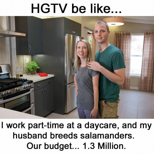 Hgtv: HGTV be like  I work part-time at a daycare, and my  usband breeds salamanders  Our budget... 1.3 Million