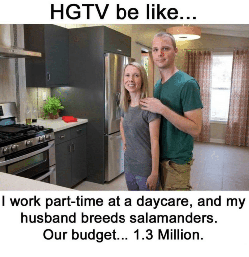 Hgtv: HGTV be like  I work part-time at a daycare, and my  husband breeds salamanders  Our budget... 1.3 Million