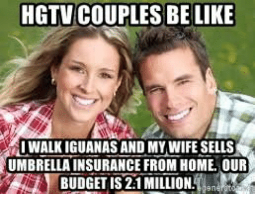 Be Like, Budget, and Hgtv: HGTV COUPLES BE LIKE  1WALK İGUANAS AND MYWIFESELLS  UMBRELLA INSURANCE FROM HOME. OUR  BUDGET IS 2:1 MILLION.