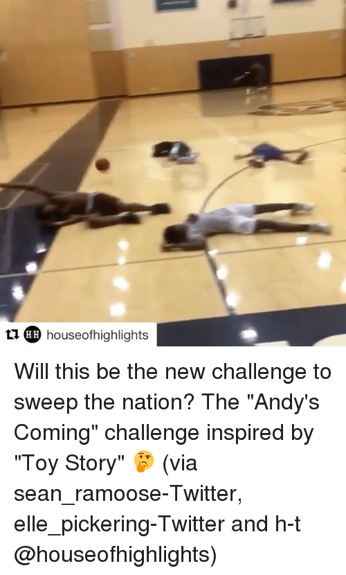 "Sports, Toy Story, and Toys: HH houseofhighlights Will this be the new challenge to sweep the nation? The ""Andy's Coming"" challenge inspired by ""Toy Story"" 🤔 (via sean_ramoose-Twitter, elle_pickering-Twitter and h-t @houseofhighlights)"