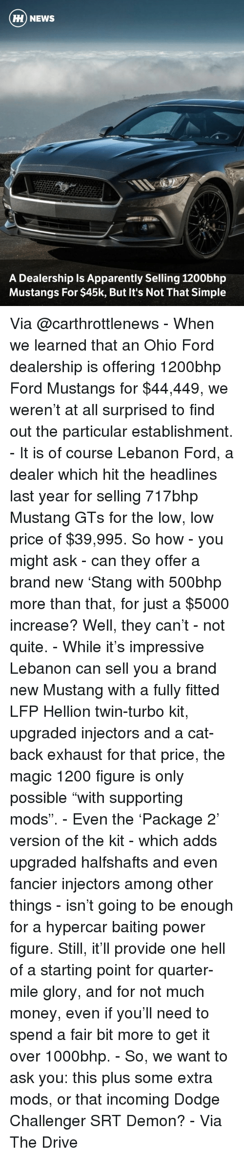 """Dodge Challenger: HH NEWS  A Dealership Is Apparently Selling 1200bhp  Mustangs For $45k, But It's Not That Simple Via @carthrottlenews - When we learned that an Ohio Ford dealership is offering 1200bhp Ford Mustangs for $44,449, we weren't at all surprised to find out the particular establishment. - It is of course Lebanon Ford, a dealer which hit the headlines last year for selling 717bhp Mustang GTs for the low, low price of $39,995. So how - you might ask - can they offer a brand new 'Stang with 500bhp more than that, for just a $5000 increase? Well, they can't - not quite. - While it's impressive Lebanon can sell you a brand new Mustang with a fully fitted LFP Hellion twin-turbo kit, upgraded injectors and a cat-back exhaust for that price, the magic 1200 figure is only possible """"with supporting mods"""". - Even the 'Package 2' version of the kit - which adds upgraded halfshafts and even fancier injectors among other things - isn't going to be enough for a hypercar baiting power figure. Still, it'll provide one hell of a starting point for quarter-mile glory, and for not much money, even if you'll need to spend a fair bit more to get it over 1000bhp. - So, we want to ask you: this plus some extra mods, or that incoming Dodge Challenger SRT Demon? - Via The Drive"""