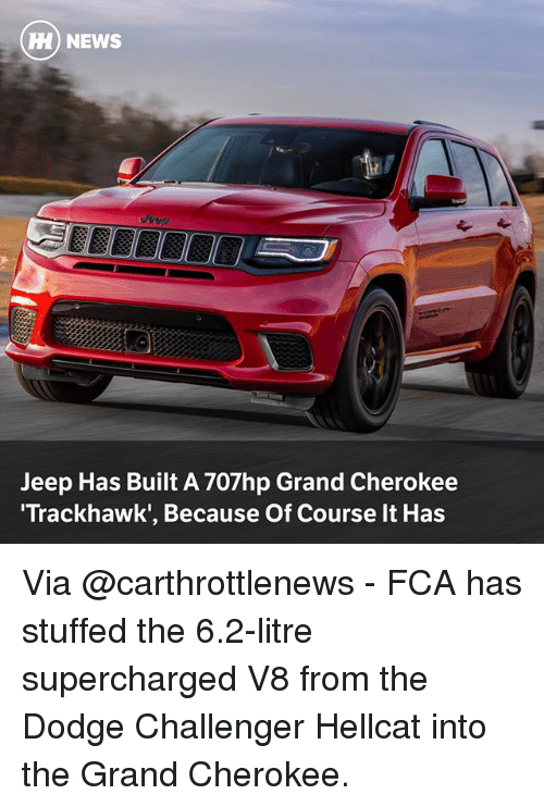 Dodge Challenger: HH NEWS  Jeep Has Built A 707hp Grand Cherokee  Trackhawk', Because Of Course It Has Via @carthrottlenews - FCA has stuffed the 6.2-litre supercharged V8 from the Dodge Challenger Hellcat into the Grand Cherokee.
