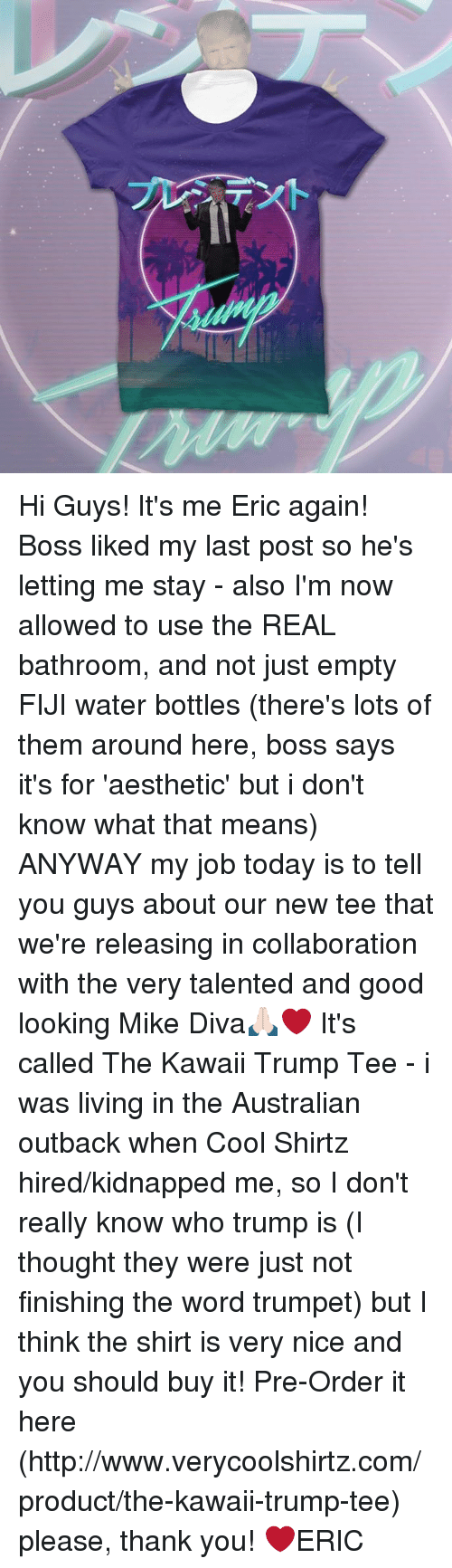 Trump: Hi Guys! It's me Eric again! Boss liked my last post so he's letting me stay - also I'm now allowed to use the REAL bathroom, and not just empty FIJI water bottles (there's lots of them around here, boss says it's for 'aesthetic' but i don't know what that means)  ANYWAY my job today is to tell you guys about our new tee that we're releasing in collaboration with the very talented and good looking Mike Diva🙏🏻❤️  It's called The Kawaii Trump Tee - i was living in the Australian outback when Cool Shirtz hired/kidnapped me, so I don't really know who trump is (I thought they were just not finishing the word trumpet) but I think the shirt is very nice and you should buy it!  Pre-Order it here (http://www.verycoolshirtz.com/product/the-kawaii-trump-tee) please, thank you!   ❤️ERIC