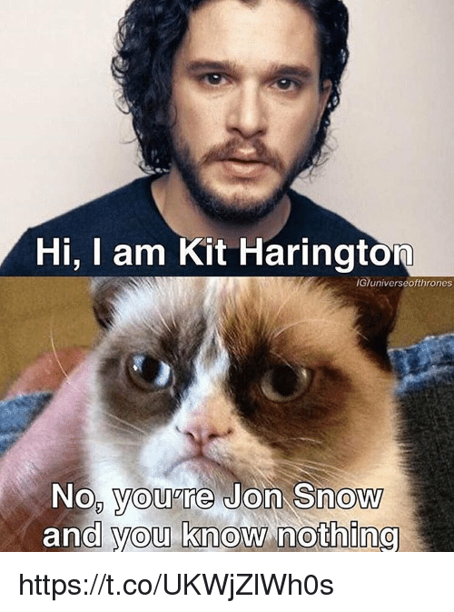 Jon Snow, Kit Harington, and Snow: Hi, I am Kit Harington  IGTuniverseofthrones  No, you're Jon Snow  and you know nothing https://t.co/UKWjZlWh0s