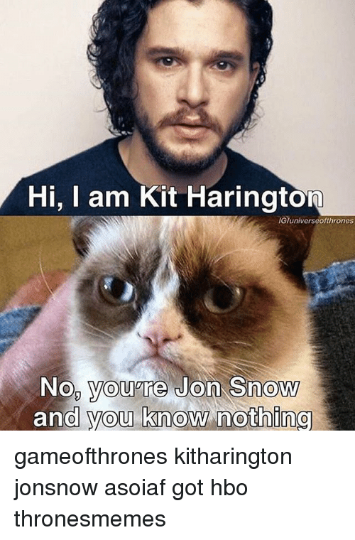 Hbo, Memes, and Jon Snow: Hi, I am Kit Harington  IGTuniverseothrones  Nop youare Jon Snow  and you know nothing gameofthrones kitharington jonsnow asoiaf got hbo thronesmemes