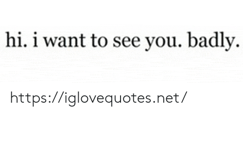 i want to see: hi. i want to see you. badly https://iglovequotes.net/