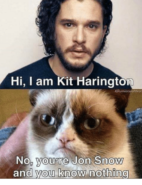 Memes, Jon Snow, and Kit Harington: Hi, Iam Kit Harington  IGhuniverseofthron  No, you're Jon Snow  and you know nothing