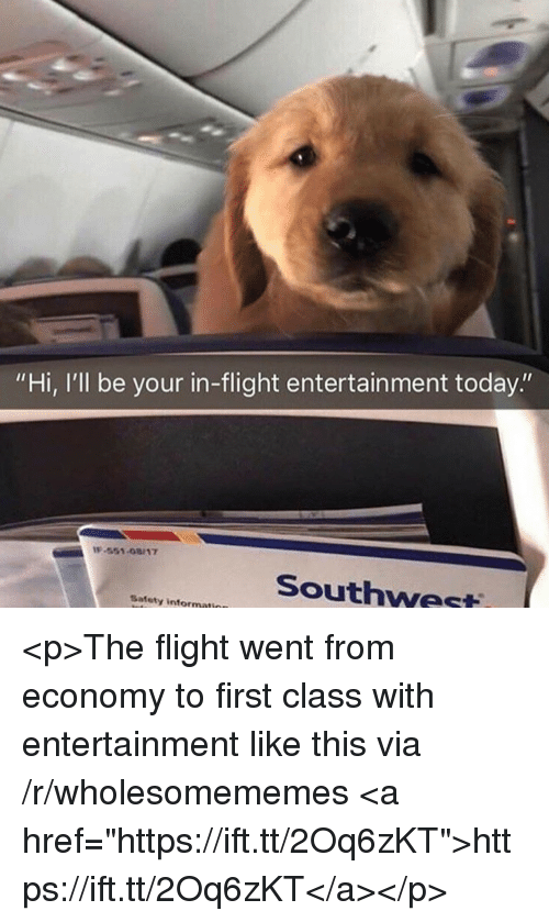 """Flight, Southwest, and Today: """"Hi, I'll be your in-flight entertainment today.""""  -551-08/17  Southwest  Safety informati <p>The flight went from economy to first class with entertainment like this via /r/wholesomememes <a href=""""https://ift.tt/2Oq6zKT"""">https://ift.tt/2Oq6zKT</a></p>"""
