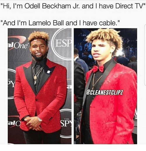 """Being Alone, Odell Beckham Jr., and Direct Tv: """"Hi, I'm Odell Beckham Jr. and I have Direct TV""""  """"And I'm Lamelo Ball and I have cable.""""  TH  ESE  alOne  ECLEANESTCLIPZ  al  SP"""