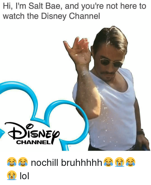 Disney, Memes, and Disney Channel: Hi, I'm Salt Bae, and you're not here to  watch the Disney Channel  SNE  CHANNEL 😂😂 nochill bruhhhhh😂😭😂😭 lol