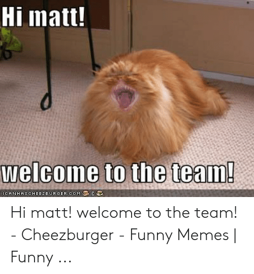 Welcome To The Team Meme: Hi matt!  CANHAS. CHEEZBURGER.COM ' Hi matt! welcome to the team! - Cheezburger - Funny Memes | Funny ...