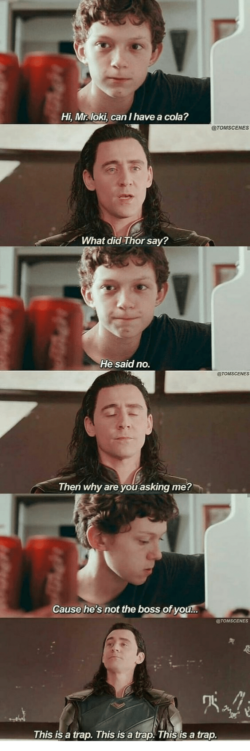 loki: Hi, Mr loki, can I have a cola?  @TOMSCENES  What did Thor say?  He said no.  @TOMSCENES  Then why are you asking me?  Cause he's not the boss of you...  @TOMSCENES  This is a trap. This is a trap. This is a trap.