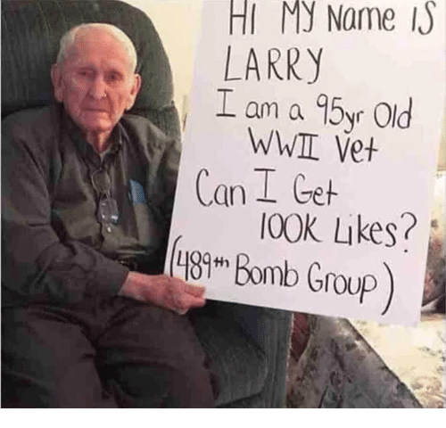 Memes, Old, and 🤖: HI My Name  LARRY  L am a 95yr Old  WWII Vet  Can I Get  I00K Likes?