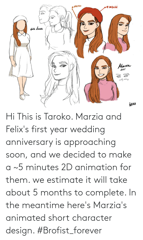wedding anniversary: Hi This is Taroko. Marzia and Felix's first year wedding anniversary is approaching soon, and we decided to make a ~5 minutes 2D animation for them. we estimate it will take about 5 months to complete. In the meantime here's Marzia's animated short character design. #Brofist_forever