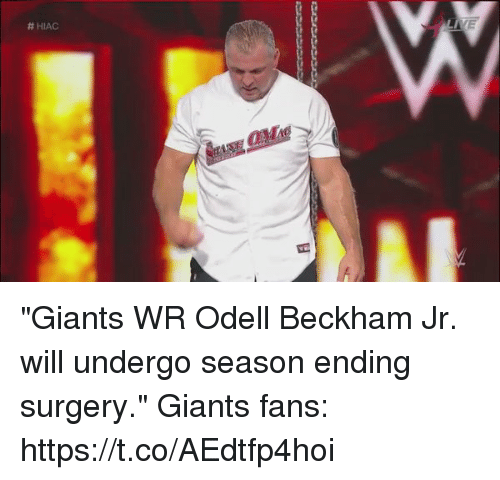 "Football, Nfl, and Odell Beckham Jr.:  # HIAC ""Giants WR Odell Beckham Jr. will undergo season ending surgery.""   Giants fans: https://t.co/AEdtfp4hoi"