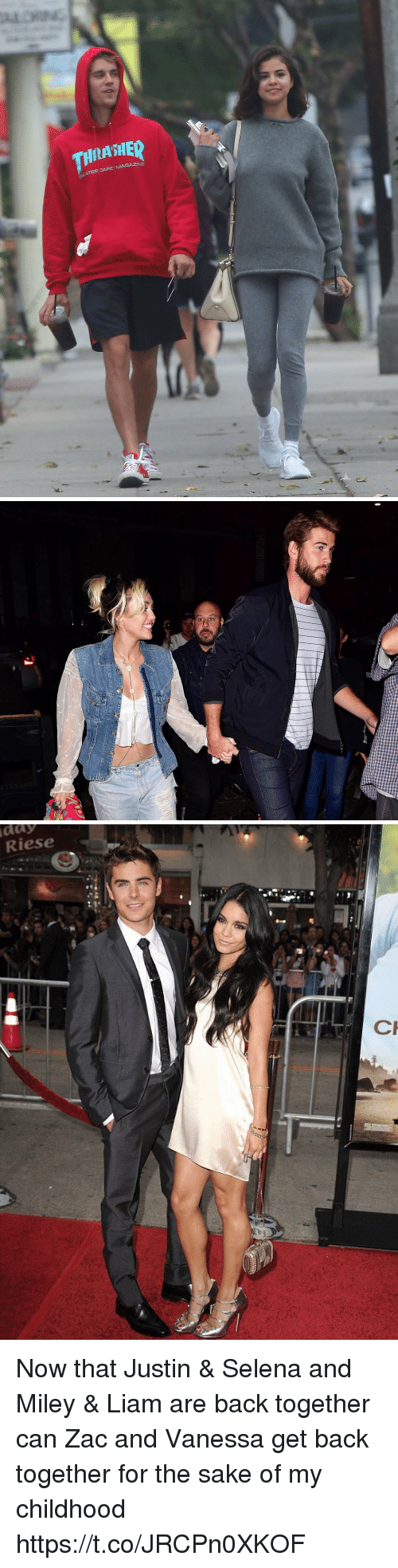 Miley Cyrus, Selena, and Girl Memes: HIASHE  TEB JARC MAGAZINE   day  Riese Now that Justin & Selena and Miley & Liam are back together can Zac and Vanessa get back together for the sake of my childhood https://t.co/JRCPn0XKOF