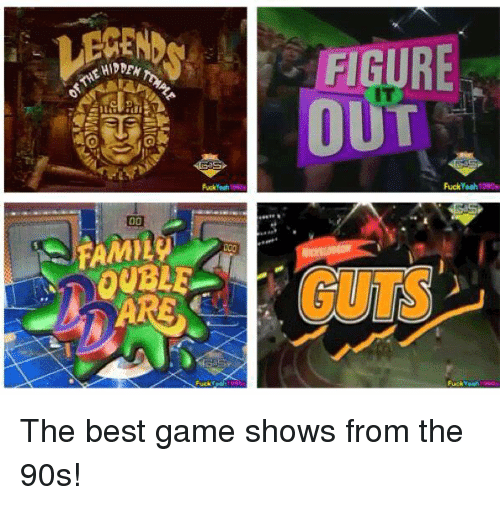 game shows: HIDDEN  OUBLE  Fuck  FIGURE  OUT  uck The best game shows from the 90s!