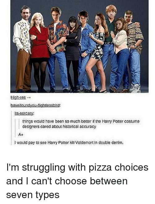 Harry Potter, Memes, and Pizza: High-res  havelloundvou fightlessblrd:  ts-sorcery:  things would have been so much better if the Harry Potter costume  designers cared about historical accuracy  I would pay to see Harry Potter Kil Voldemort in double denlm. I'm struggling with pizza choices and I can't choose between seven types