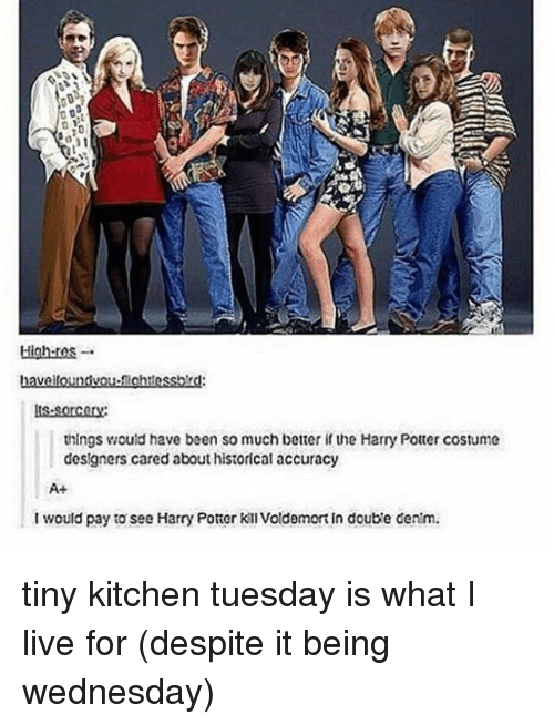Harry Potter, Memes, and Live: High-ros.  havelloundvou-ichtessbd  is-sorcory  things would have been so much better if the Harry Potter costume  designers cared about historical accuracy  A+  I would pay to see Harry Potter Kill voldemort in doub'e centm tiny kitchen tuesday is what I live for (despite it being wednesday)
