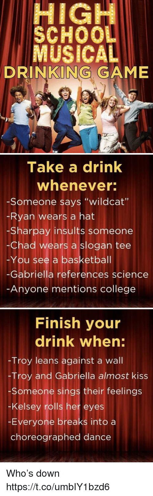 "Dancee: HIGH  SCHOO  MUSICAL  DRINKING GAME   Take a drink  whenever  -Someone says ""wildcat""  Ryan wears a hat  -Sharpay insults someone  -Chad wears a slogan tee  -You see a basketbal  -Gabriella references science  Anyone mentions college   Finish your  drink when:  Troy leans against a wall  -Troy and Gabriella almost kiss  Someone sings their feelings  -Kelsey rolls her eyes  -Everyone breaks into a  choreographed dance Who's down https://t.co/umbIY1bzd6"