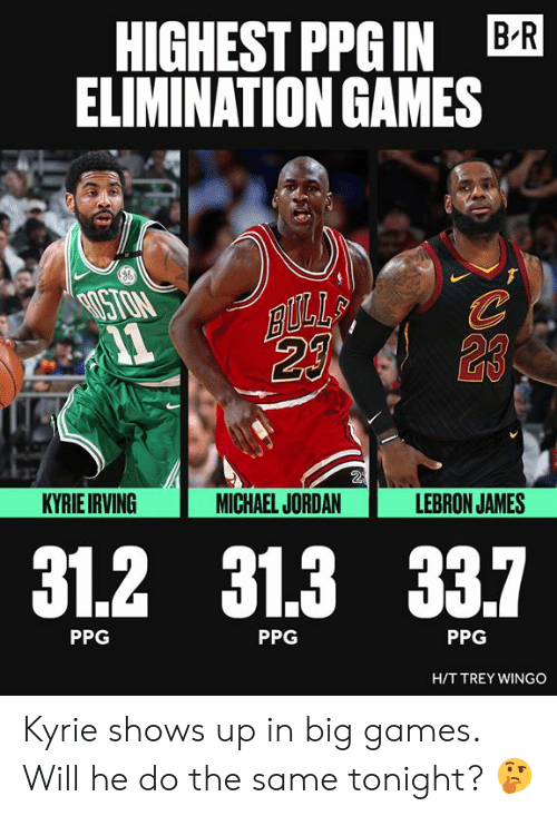 Irving: HIGHEST PPGIN BR  ELIMINATION GAMES  ISTON  23  2  KYRIE IRVING  MICHAEL JORDAN  LEBRON JAMES  31.2 31.3 33.7  PPG  PPG  PPG  HIT TREY WINGO Kyrie shows up in big games. Will he do the same tonight? 🤔