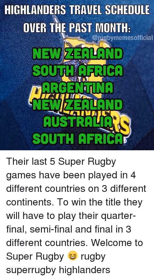 Super Rugby: HIGHLANDERS TRAVEL SCHEDULE  OVER THE PAST MONTH  @rugby memesofficial  NEW  AEAILAND  ARGENTINA  NEWI AEA LAND  AUSTRALIA  SOUTH AFRICA Their last 5 Super Rugby games have been played in 4 different countries on 3 different continents. To win the title they will have to play their quarter-final, semi-final and final in 3 different countries. Welcome to Super Rugby 😆 rugby superrugby highlanders
