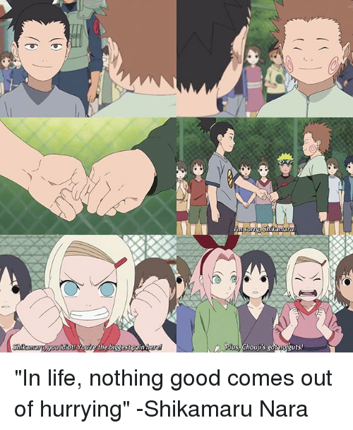 "Life, Memes, and Good: hikamary you  iot! Youre the biggest pain her  plus, Chouji's noguts ""In life, nothing good comes out of hurrying"" -Shikamaru Nara"