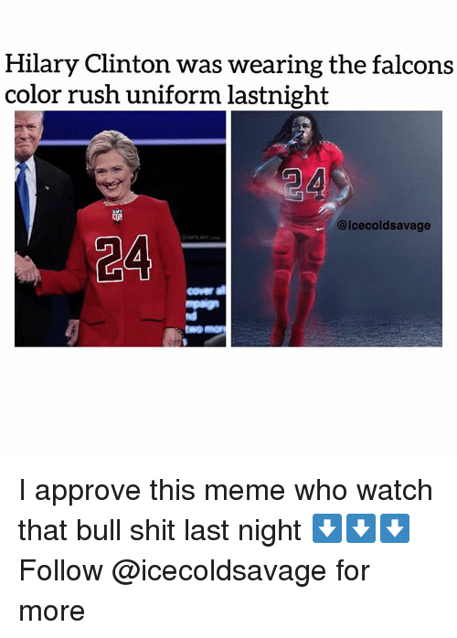 hilary clinton was wearing the falcons color rush uniform lastnight 4102321 hilary clinton was wearing the falcons color rush uniform