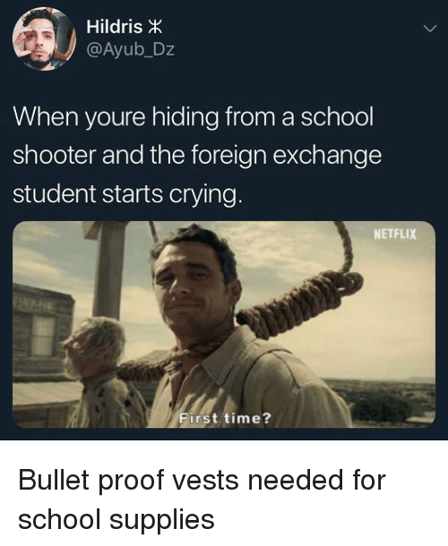 foreign exchange: Hildris  @Ayub_Dz  When youre hiding from a school  shooter and the foreign exchange  student starts crying  NETFLIX  First time? Bullet proof vests needed for school supplies