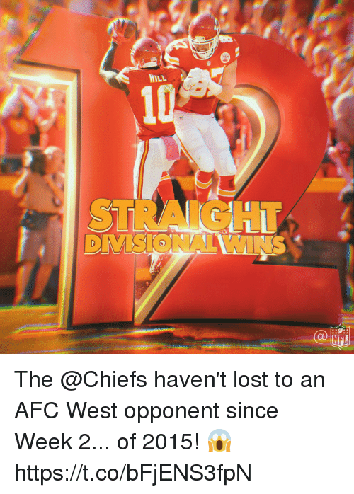 Memes, Nfl, and Lost: HILL  NFL The @Chiefs haven't lost to an AFC West opponent since Week 2... of 2015! 😱 https://t.co/bFjENS3fpN