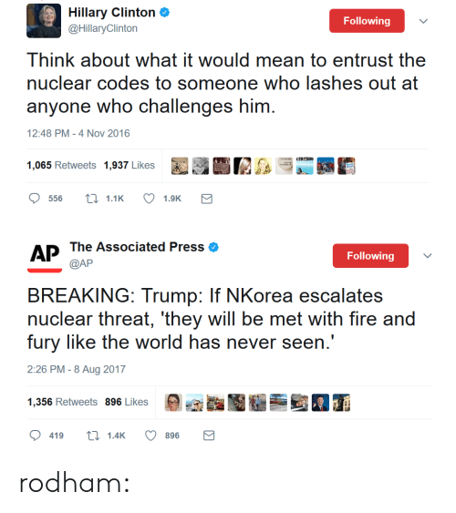 Escalates: Hillary Clinton&  @HillaryClinton  Following  Think about what it would mean to entrust the  nuclear codes to someone who lashes out at  anyone who challenges him  12:48 PM-4 Nov 2016   AP The Associated Press eo  Following  BREAKING: Trump: If NKorea escalates  nuclear threat, 'they will be met with fire and  fury like the world has never seen.'  2:26 PM -8 Aug 2017  9,癲酯圈墾壘当囿ㄒ  1256 Retweets 896 Likes  419t1.4K  896 rodham: