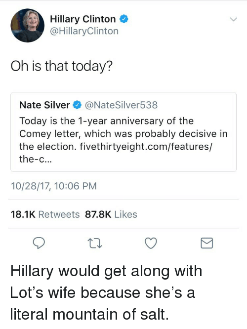 decisive: Hillary Clinton  @HillaryClinton  Oh is that today?  Nate Silver @NateSilver538  Today is the 1-year anniversary of the  Comey letter, which was probably decisive in  the election. fivethirtyeight.com/features/  the-c...  10/28/17, 10:06 PM  18.1K Retweets 87.8K Likes <p>Hillary would get along with Lot&rsquo;s wife because she&rsquo;s a literal mountain of salt.</p>