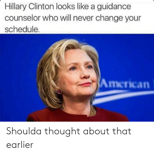 Hillary Clinton: Hillary Clinton looks like a guidance  counselor who will never change your  schedule.  American Shoulda thought about that earlier