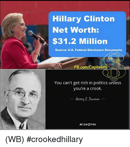 crook: Hillary Clinton  Net Worth:  $31.2 Million  Source: U.S. Federal Disclosure Documents  FB.com/Capitalists  You can't get rich in politics unless  you're a crook.  Harry Truman  AZ QUOTES (WB) #crookedhillary