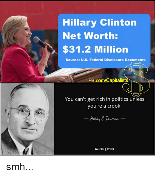 crook: Hillary Clinton  Net Worth:  $31.2 Million  Source: U.S. Federal Disclosure Documents  FB.com/Capitalists  You can't get rich in politics unless  you're a crook.  Harry Truman  AZ QUOTES smh...
