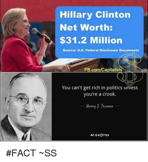disclosure: Hillary Clinton  Net Worth:  $31.2 Million  Sourced U.S. Federal Disclosure Documents  FB.com/Capitalists  You can't get rich in politics unless  you're a crook.  Hanny Truman  Az QUOTES #FACT ~SS