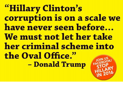 """oval office: """"Hillary Clinton's  corruption is on a scale we  have never seen before...  We must not let her take  her criminal scheme into  the Oval Office.""""  JOIN USK  Donald Trump  HILLARY  IN"""