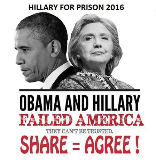obama-and-hillary: HILLARY FOR PRISON 2016  OBAMA AND HILLARY  EALED AMERICA  THEY CANT BETRUSTED.  SHARE AGREE!