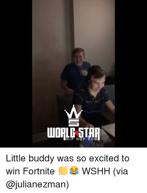 Memes, Wshh, and Hip Hop: HIP HOP. CO M Little buddy was so excited to win Fortnite 👏😂 WSHH (via @julianezman)