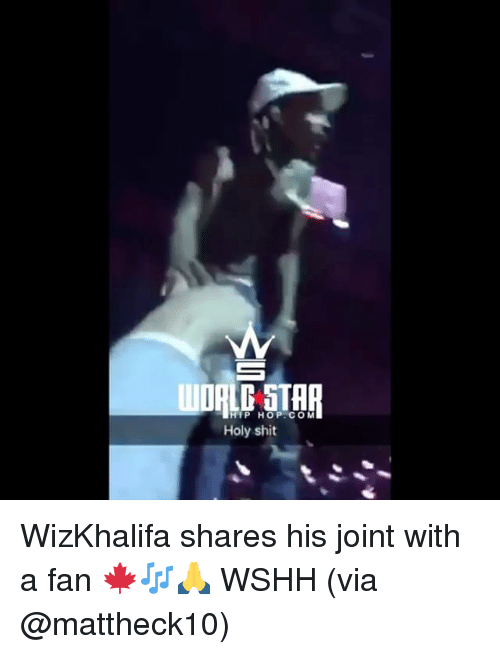 Memes, Shit, and Wshh: HIP HOP COM  Holy shit WizKhalifa shares his joint with a fan 🍁🎶🙏 WSHH (via @mattheck10)