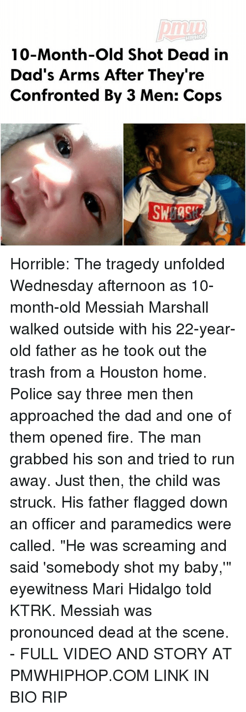 """Dad, Fire, and Memes: HIPHOP  10-Month-old Shot Dead in  Dad's Arms After They're  Confronted By 3 Men: Cops Horrible: The tragedy unfolded Wednesday afternoon as 10-month-old Messiah Marshall walked outside with his 22-year-old father as he took out the trash from a Houston home. Police say three men then approached the dad and one of them opened fire. The man grabbed his son and tried to run away. Just then, the child was struck. His father flagged down an officer and paramedics were called. """"He was screaming and said 'somebody shot my baby,'"""" eyewitness Mari Hidalgo told KTRK. Messiah was pronounced dead at the scene. - FULL VIDEO AND STORY AT PMWHIPHOP.COM LINK IN BIO RIP"""