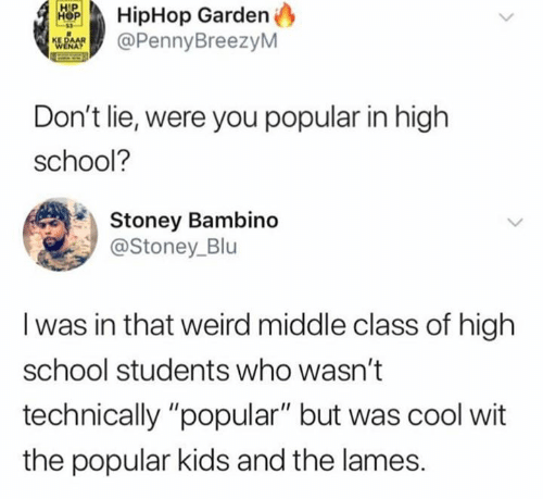 """blu: HipHop Garden  @PennyBreezyM  Don't lie, were you popular in high  school?  Stoney Bambino  @Stoney_Blu  I was in that weird middle class of high  school students who wasn't  technically """"popular"""" but was cool wit  the popular kids and the lames."""