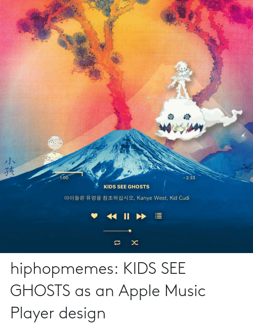 Apple Music: hiphopmemes:  KIDS SEE GHOSTS as an Apple Music Player design