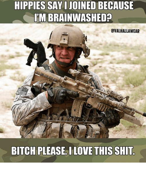 Military, Bitches, and Shitted: HIPPIES SAYIJOINEDBECAUSE  ITM BRAINWASHED  EVALHALLAWEAR  BITCH PLEASE. ILOVE THIS SHIT