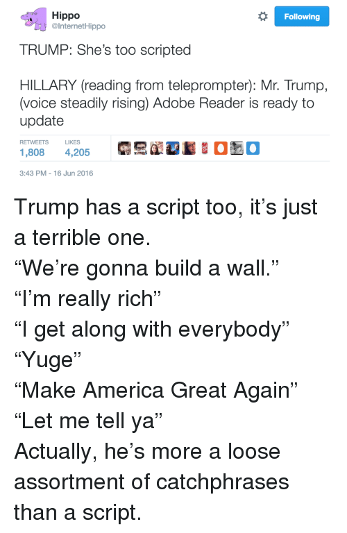 Trump: Hippo  InternetHippo  Following  TRUMP: She's too scripted  HILLARY (reading from teleprompter): Mr. Trump,  (voice steadily rising) Adobe Reader is ready to  update  RETWEETSLIKES  1,808 4,205 럭'E'RS 00  3:43 PM-16 Jun 2016 <p>Trump has a script too, it&rsquo;s just a terrible one.</p><p>&ldquo;We&rsquo;re gonna build a wall.&rdquo;<br/>&ldquo;I&rsquo;m really rich&rdquo;<br/>&ldquo;I get along with everybody&rdquo;<br/>&ldquo;Yuge&rdquo;<br/>&ldquo;Make America Great Again&rdquo;<br/>&ldquo;Let me tell ya&rdquo;</p><p>Actually, he&rsquo;s more a loose assortment of catchphrases than a script.</p>