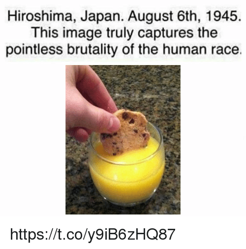 brutality: Hiroshima, Japan. August 6th, 1945  This image truly captures the  pointless brutality of the human race. https://t.co/y9iB6zHQ87