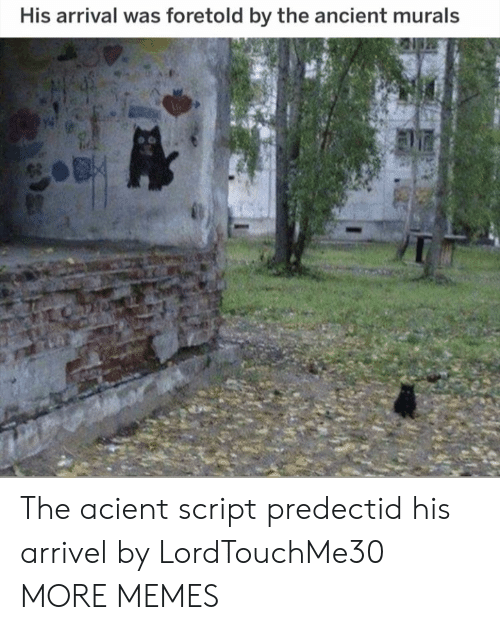 Arrival: His arrival was foretold by the ancient murals The acient script predectid his arrivel by LordTouchMe30 MORE MEMES