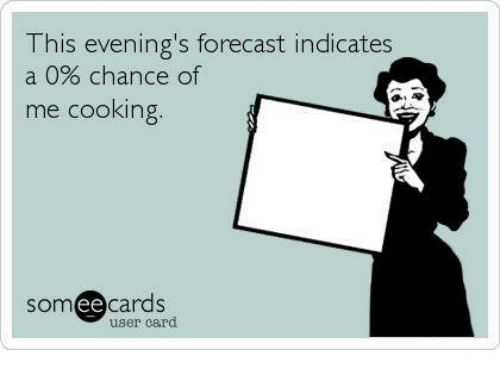 Ee Cards: his evening's forecast indicates  a 0% chance of  me cooking.  SOm  ee  cards  user card