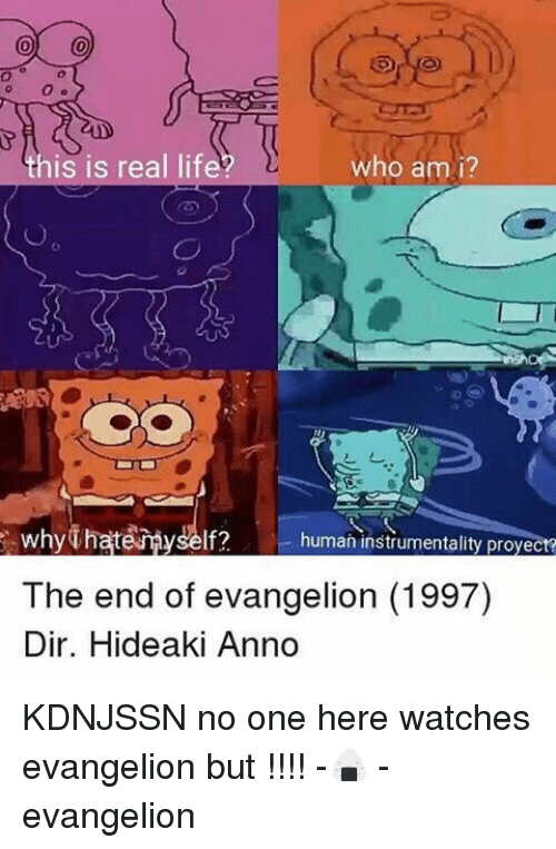 Who Am I, Watches, and Fandom: his is real lif  who am i?  why  human instrumentality proyect?  The end of evangelion (1997)  Dir. Hideaki Anno KDNJSSN no one here watches evangelion but !!!! -🍙 - evangelion